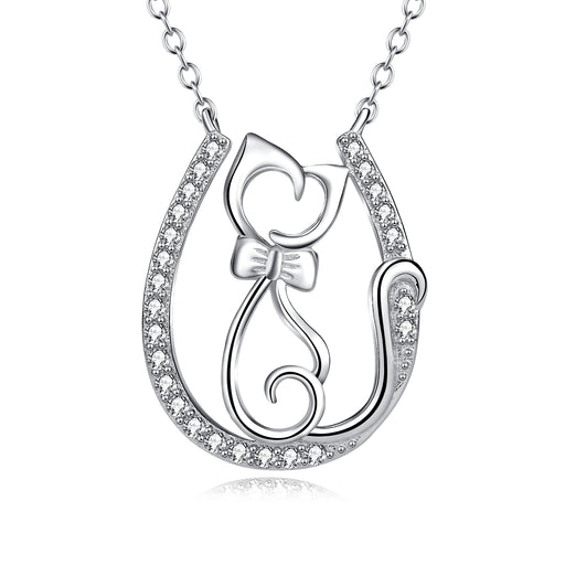 925 Sterling Silver Lovely Cat Pendant With Chain Jewelry Necklace