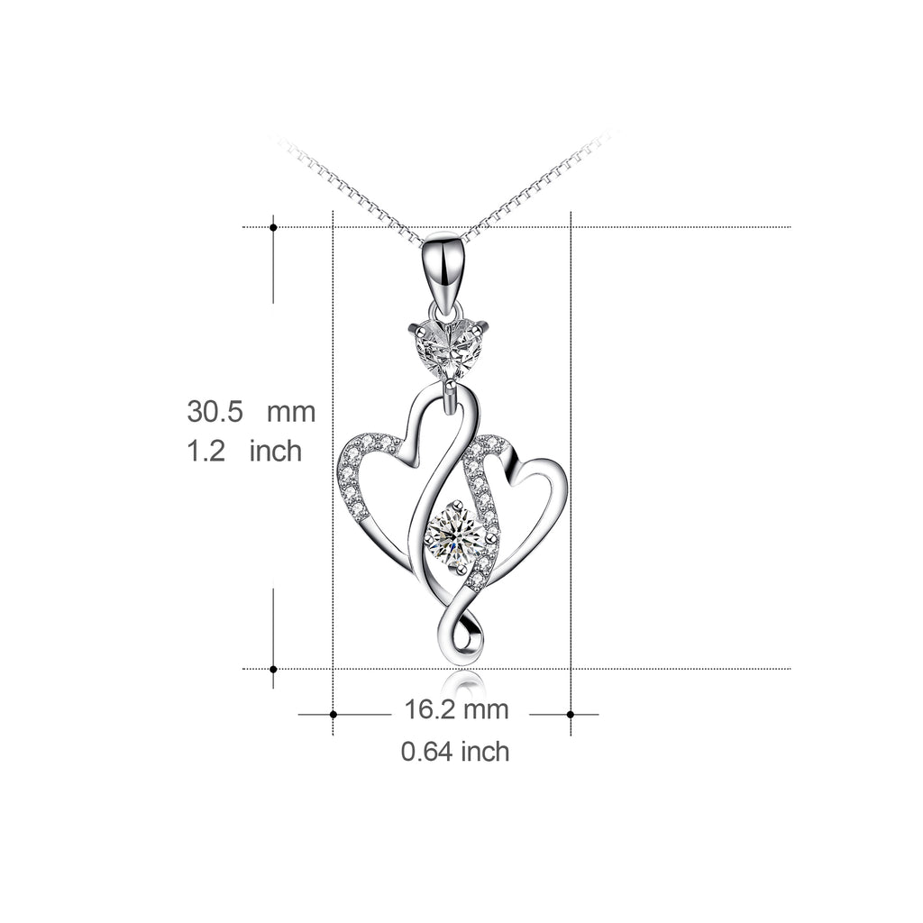 925 Sterling Silver Interwined Hearts  With Jewelry Necklace