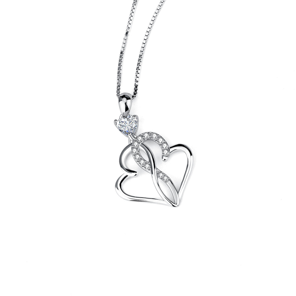 925 Sterling Silver Interwined Heart Jewelry Necklace