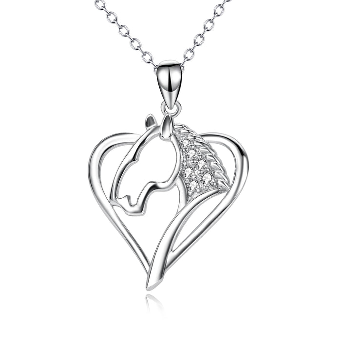 925 Sterling Silver Love Heart Lovely Horse Head Necklace