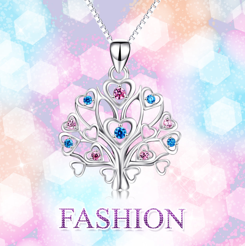 925 Sterling Silver Love Heart Tree Birthstones Pendant Necklace