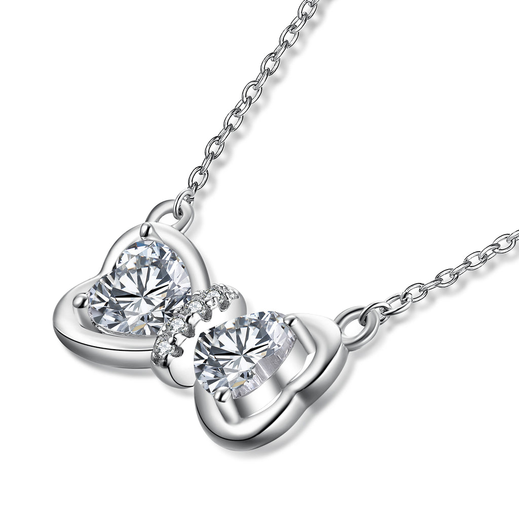 925 Sterling Silver Lovely Bow Knot Fashion Necklace