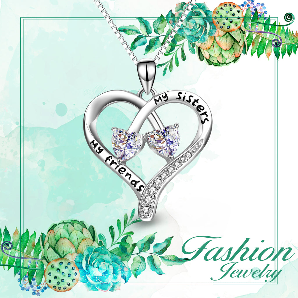 925 Sterling Silver My Friends My Sisters Twisted Heart Pendant Necklace