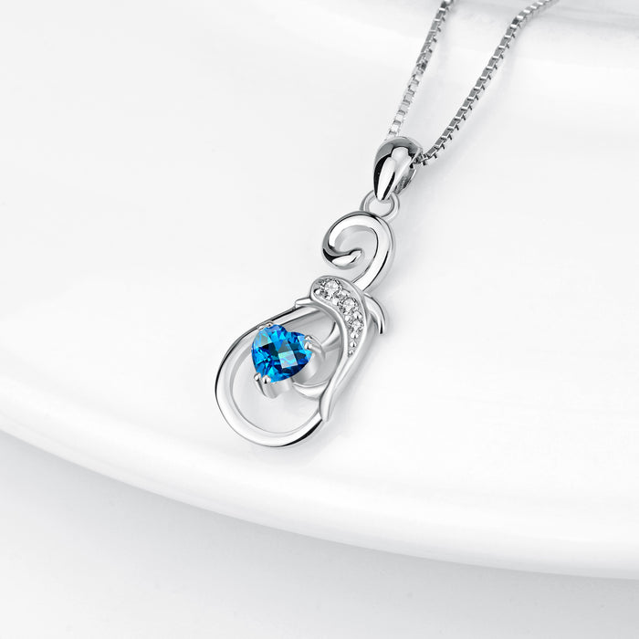 925 Sterling Silver Musical Note Dolphin Ocean Heart Pendant With Chain Necklace