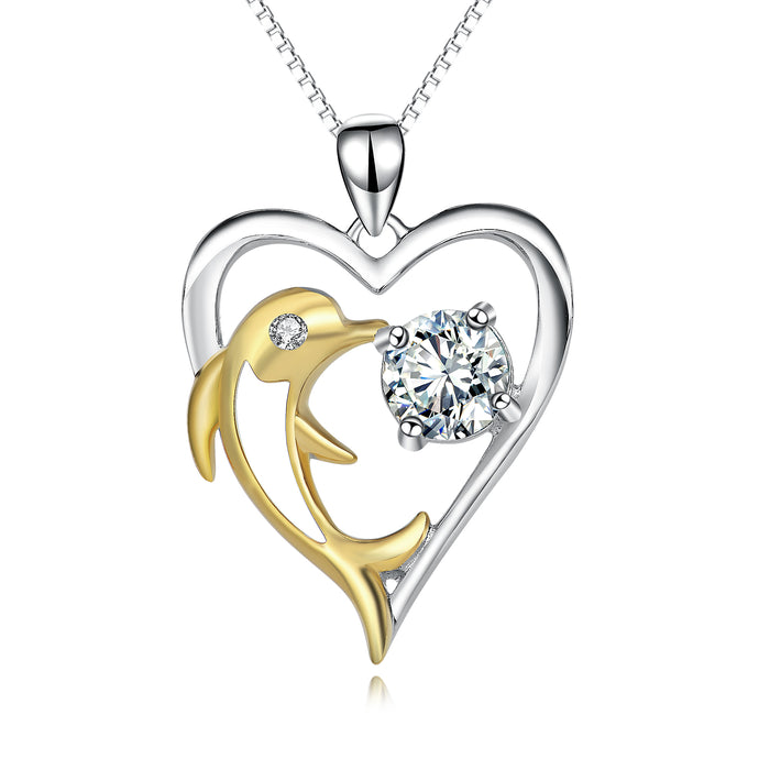 925 Sterling Silver Lucky Love Heart Gold Dolphin Pendant Necklace
