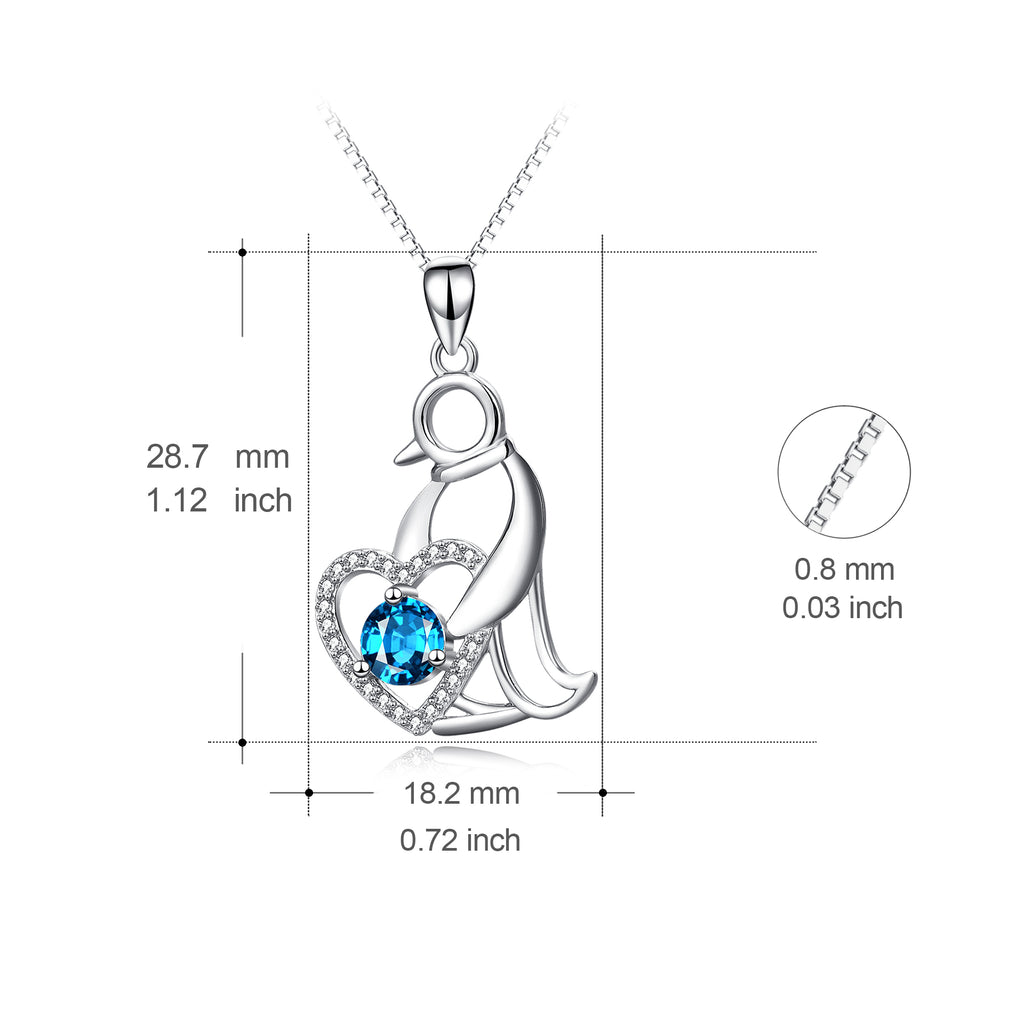 925 Sterling Silver Penguin Love Heart Swarovski Crystal Necklace