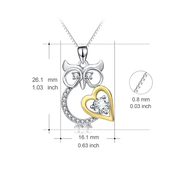 925 Sterling Silver Super Lovely Owl Love Heart Necklace