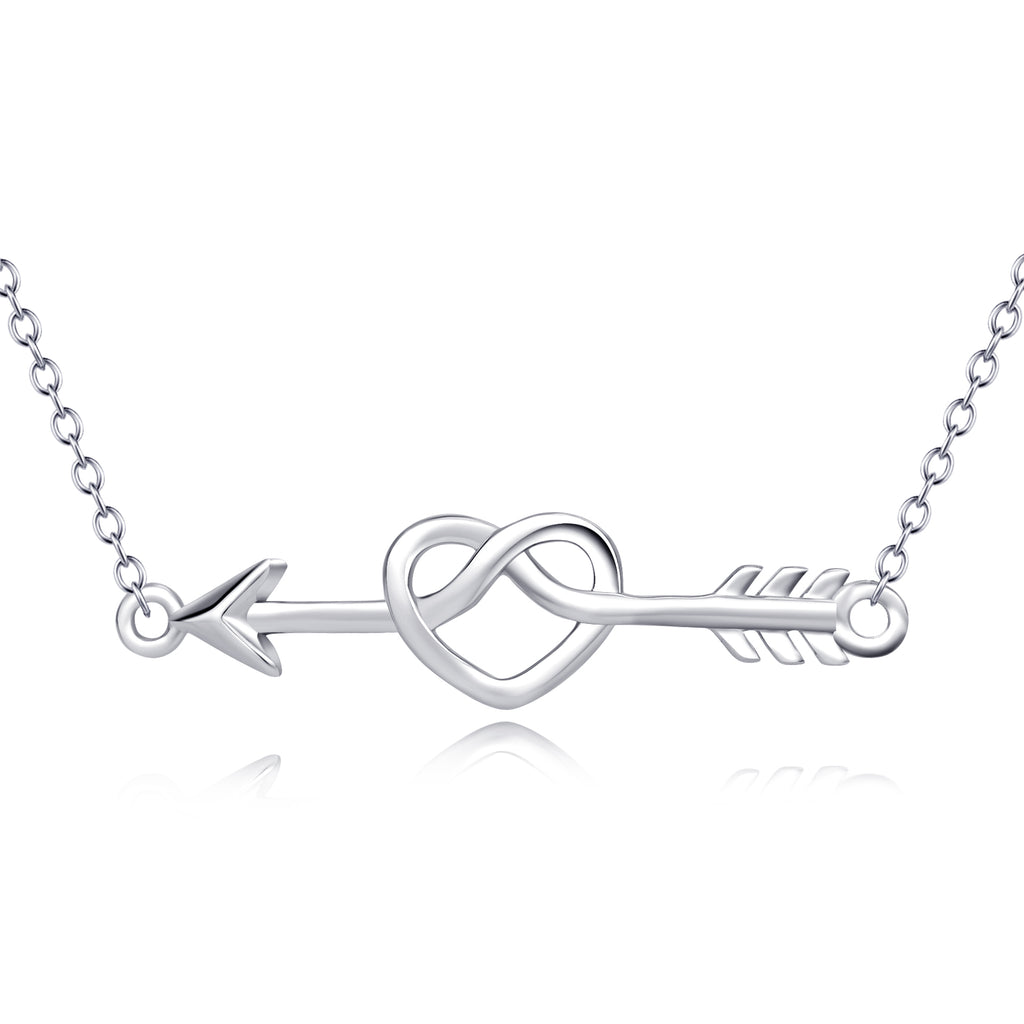 925 Sterling Silver Love Heart Arrow Necklace
