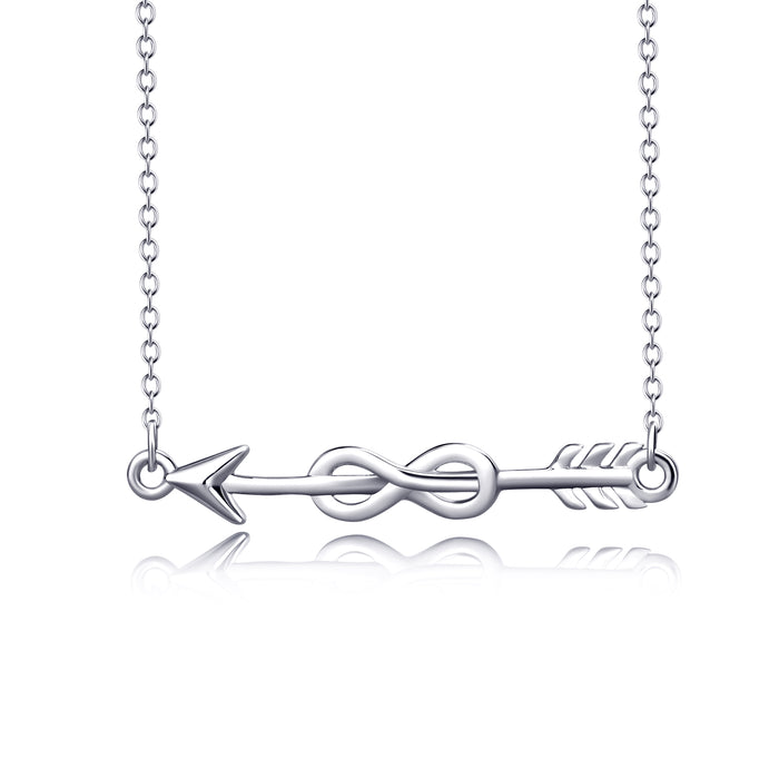 925 Sterling Silver Simple Infinity Arrow Necklace