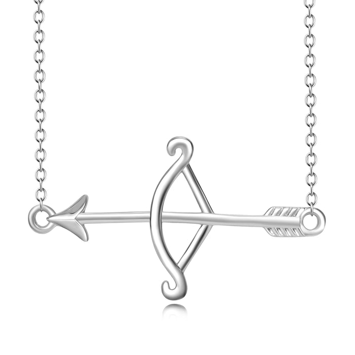 925 Sterling Silver Simple Generous Bow Arrow Necklace