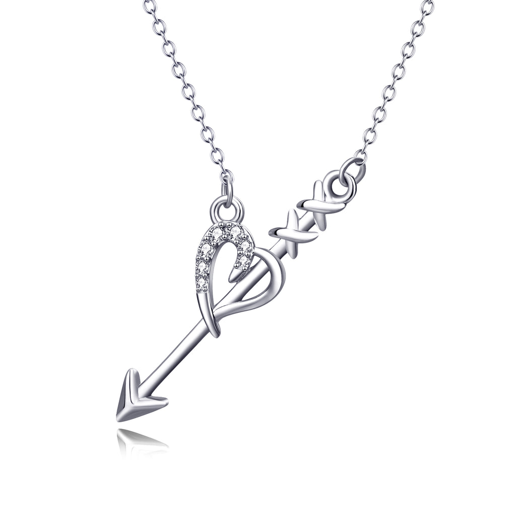 925 Sterling Silver Cupid arrow Love Heart Jewelry Necklace For Women Girls Friends
