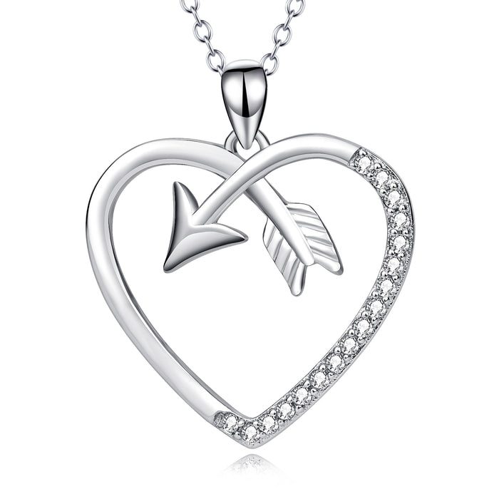 925 Sterling Silver Cupid Arrow Love Heart Lucky Necklace