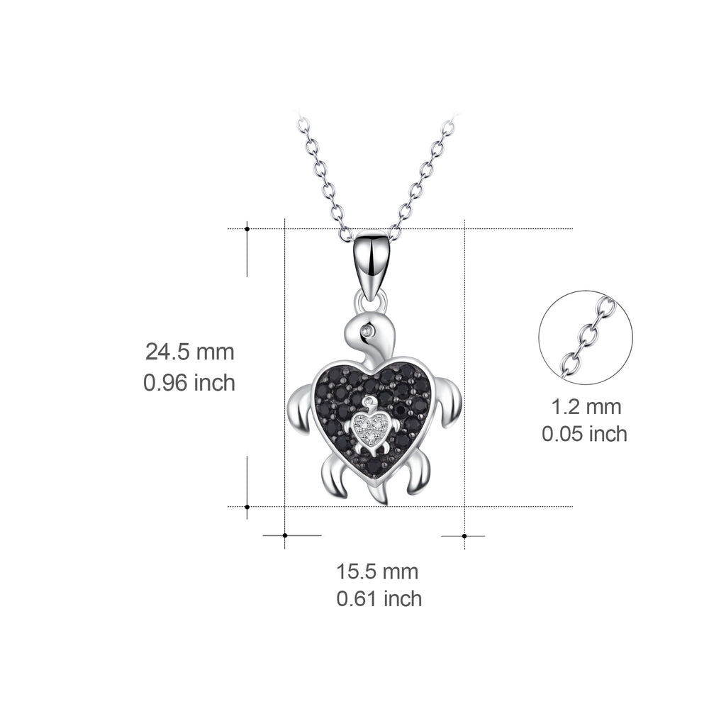 925 Sterling Silver Super Cool Mother Baby Turtule Necklace
