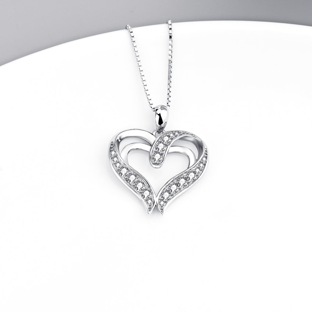 925 Sterling Silver Charm Double Love Heart Pendant Necklace