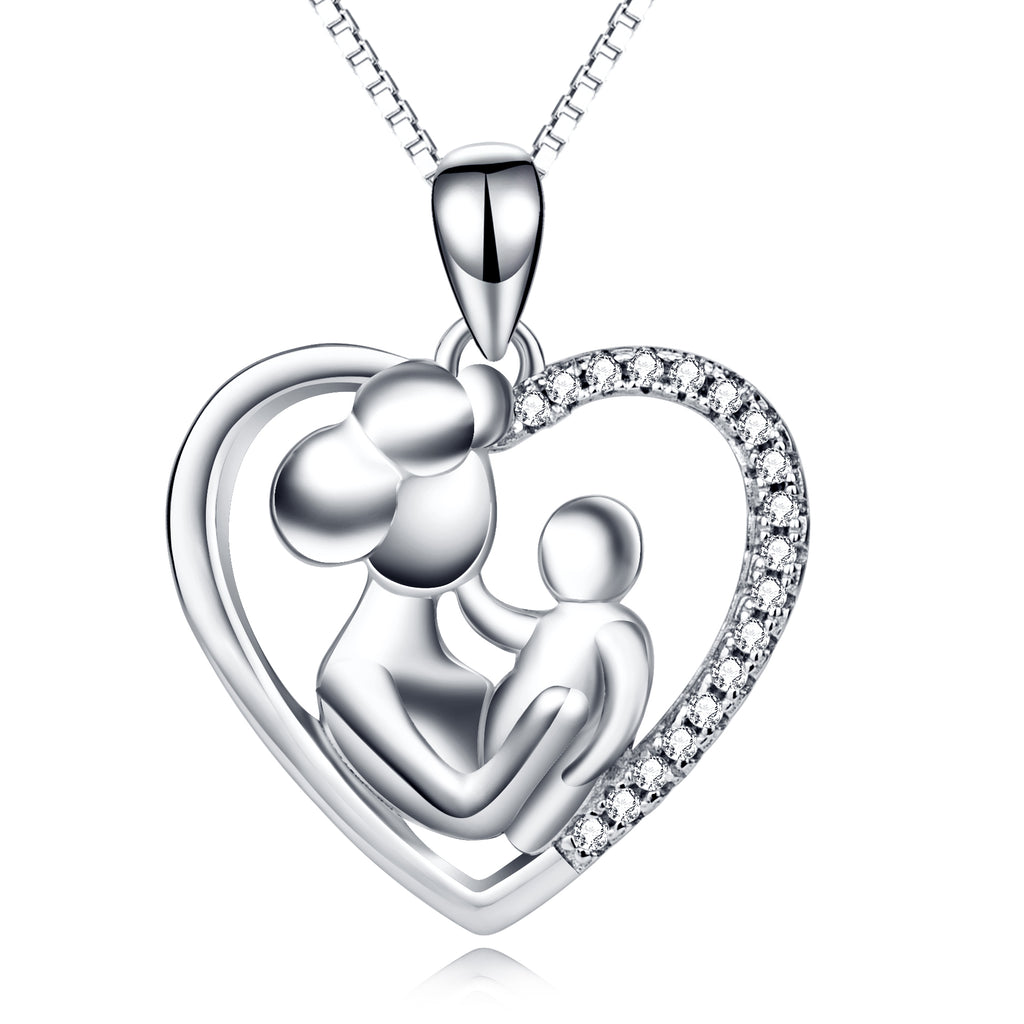 925 Sterling Silver Mother Baby Jewel Necklace Gift For Mom Mother's Day
