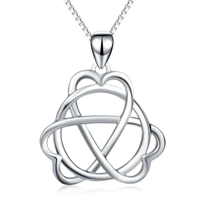 925 Sterling Silver Interwined Charm Pendant with Adjustable Chain Necklace
