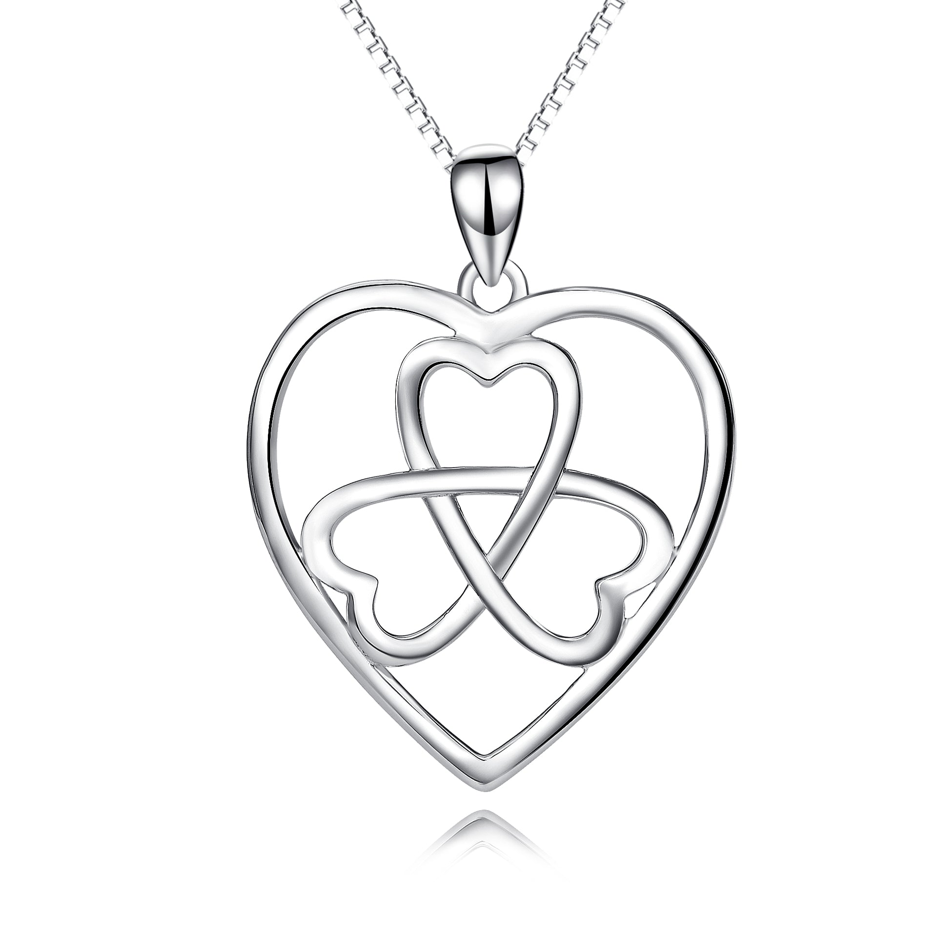 925 Sterling Silver Love Heart Lucky Clover With Adjustable Chain Necklace