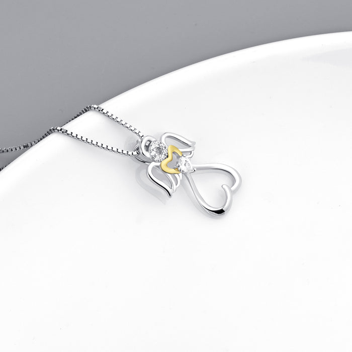 925 Sterling Silver Angel Wings Yellow Gold Love Heart Jewelry Necklace
