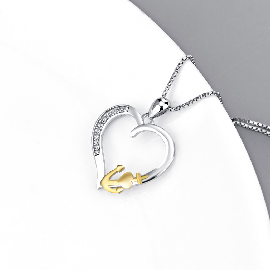 925 Sterling Silver Jewelry Love Heart Anchor Necklace