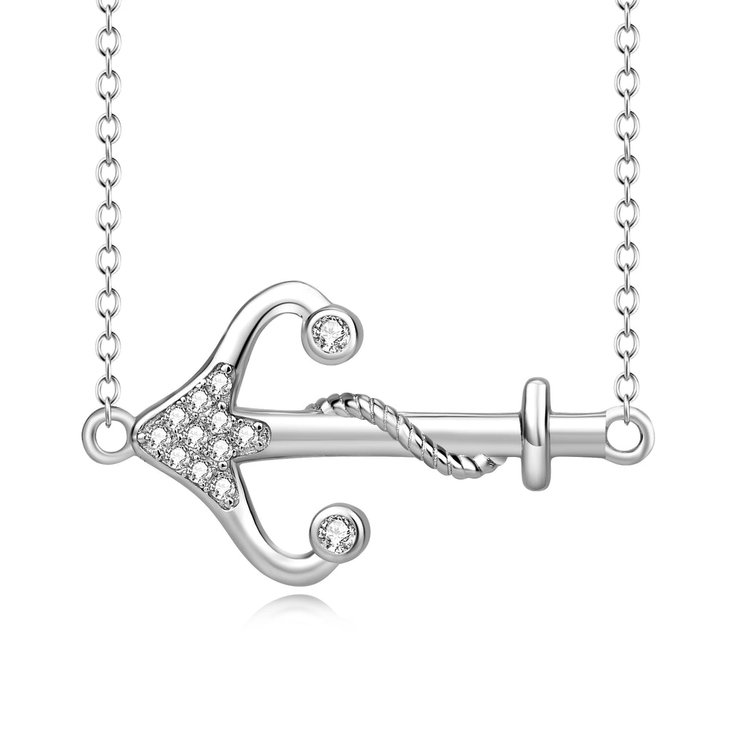 925 Sterling Silver Crystal Arrow Pendant With Adjustable Chain Necklace