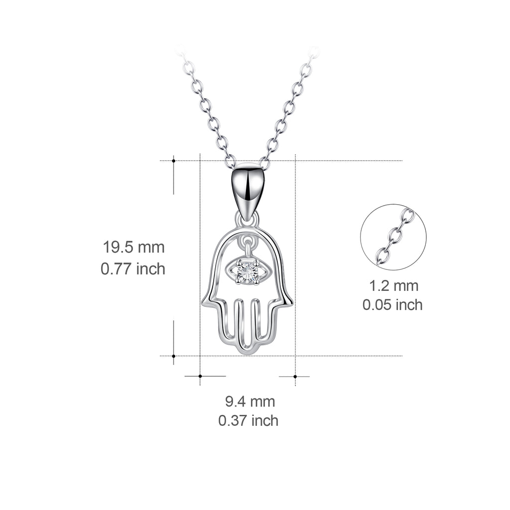 925 Sterling Silver Palm Crystal Pendant Necklace 18'' Chain