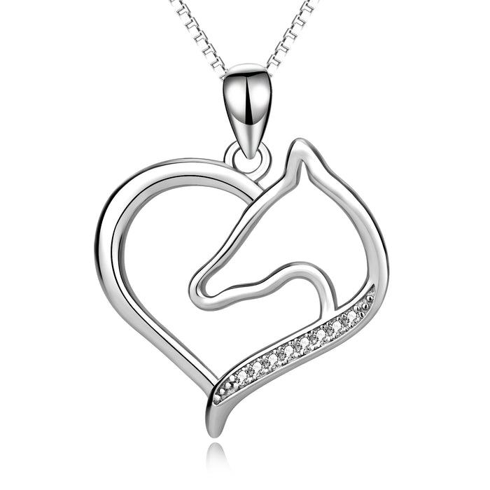 925 Sterling Silver Horse Love Heart Combined Jewels Necklace