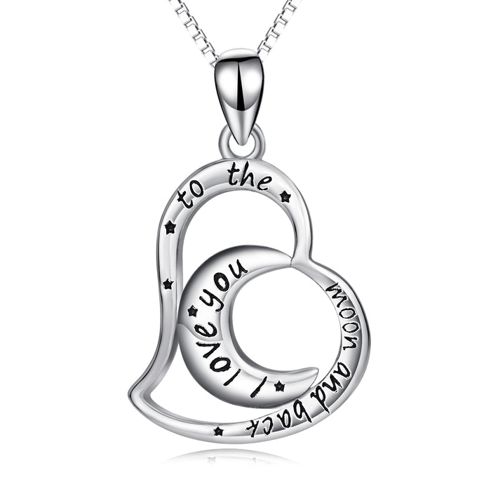 925 Sterling Silver Eternal Love Moon Love Heart Necklace