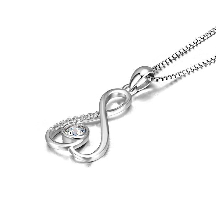 925 Sterling Silver Infinity Heart Cubic Zirconia Pendant Necklace