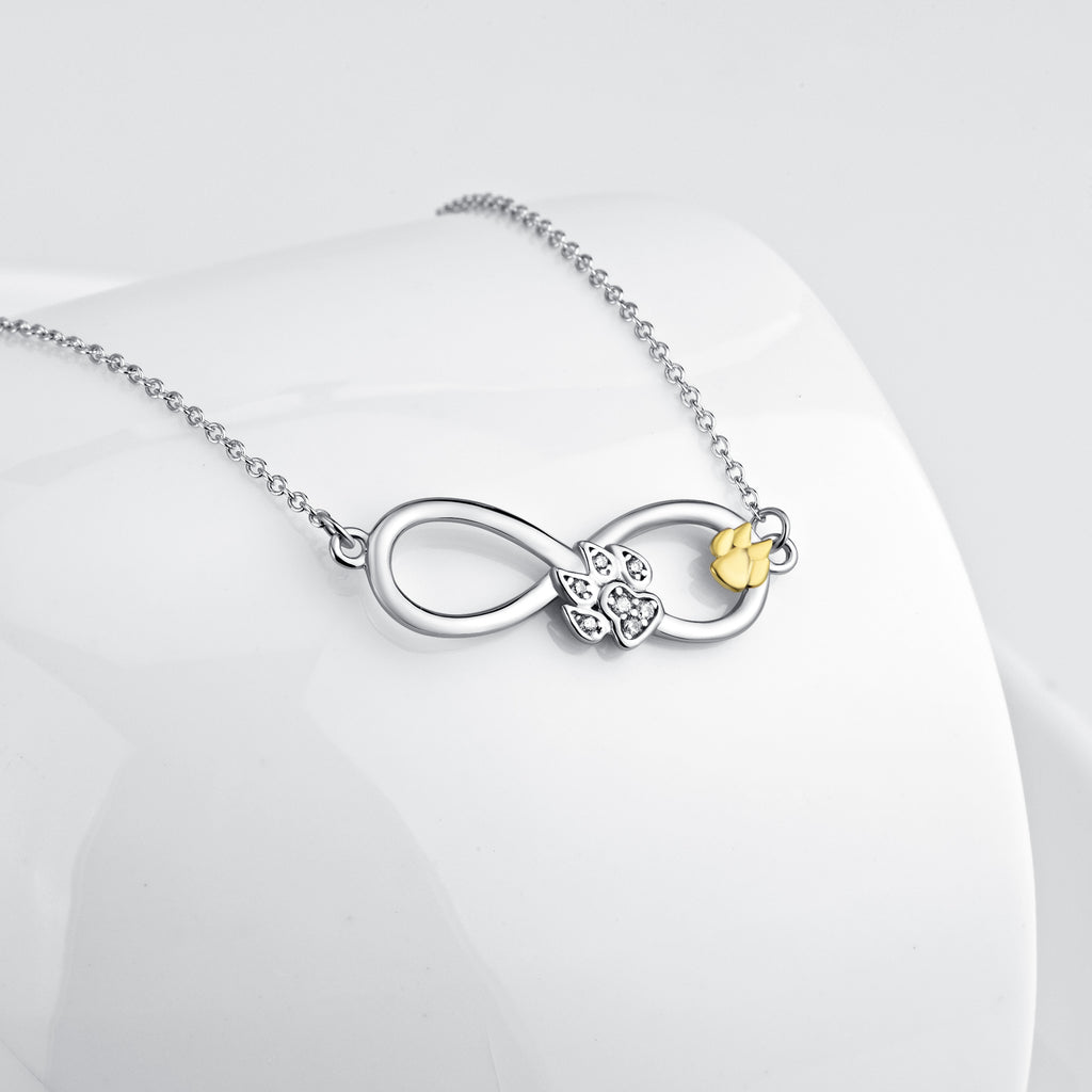 925 Sterling Silver Infinity Dog Foot Jewel Necklace
