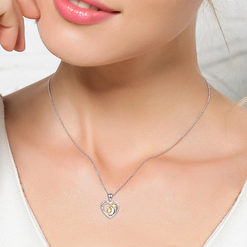 925 Sterling Silver You Hold My Heart Forever Star Crescent Necklace