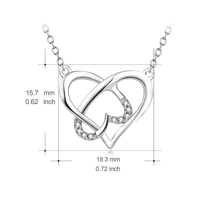 925 Sterling Silver Unique Twisted Love Heart Crystal Necklace