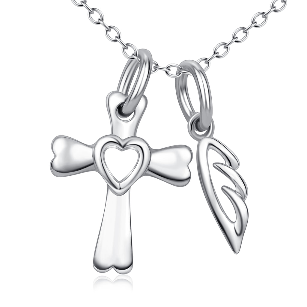 925 Sterling Silver Cross Love Heart Angel Wing Necklace For Women Friends