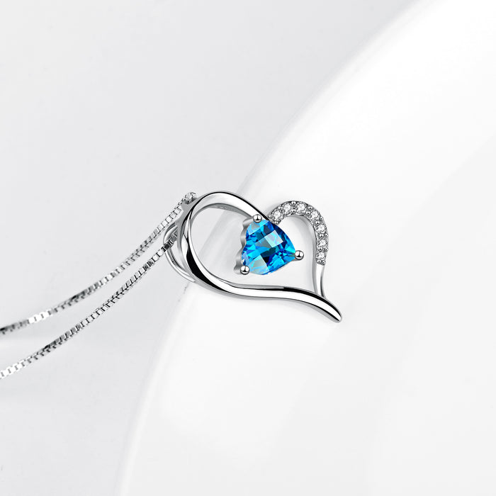 925 Sterling Silver Love Heart Pendant with Chain for Women Swarovski Necklace