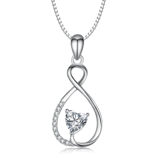 925 Sterling Silver Infinity Cubic Zircon Pendant Necklace