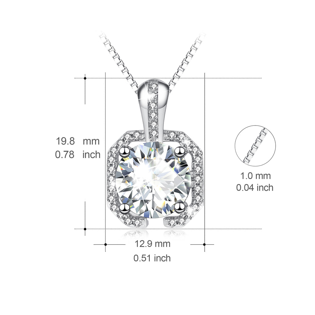 925 Sterling Silver Fashion Elegant Charm Crystal Necklace