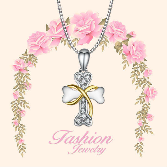 925 Sterling Silver Lovely Dog Bone Cross Two-Tone Necklace
