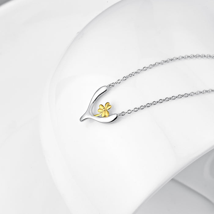 925 Sterling Silver Simple Gorgeous Tree Shrew Flower Necklace