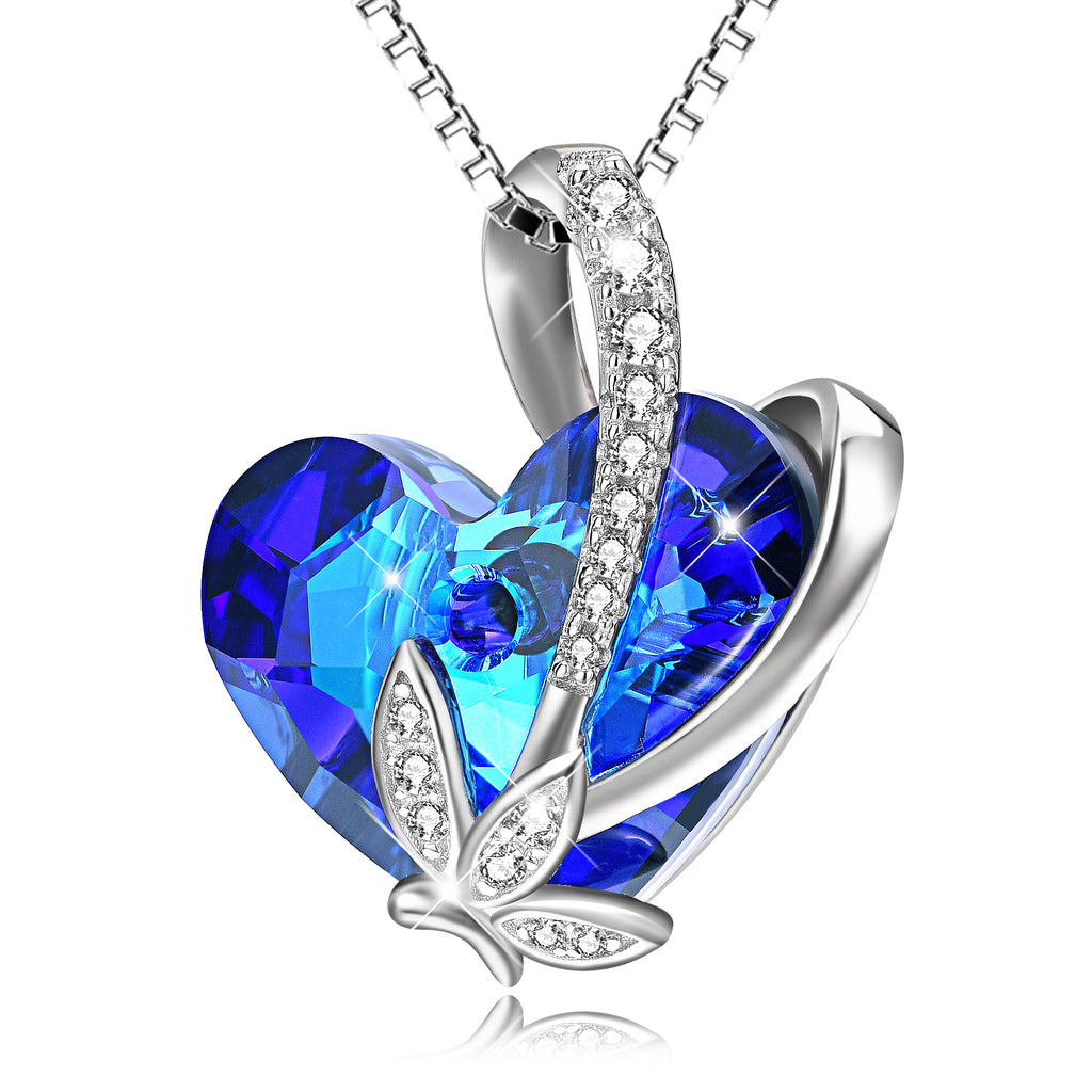 925 Sterling Silver Charm Blue Love Heart Swarovski Crystal Pendant Necklace
