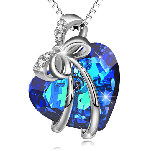 925 Sterling Silver Blue Ocean Heart Bow-Knot Swarovski Crystal Necklace For Women