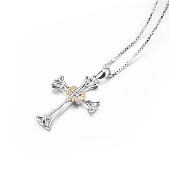 925 Sterling Silver Religious Eternal Celtic Knot Cross Heart Cubic Zirconia Heart Necklace