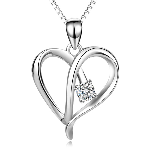 925 Sterling Silver Love Heart Crystal Pendant With Adjustable Chain Necklace
