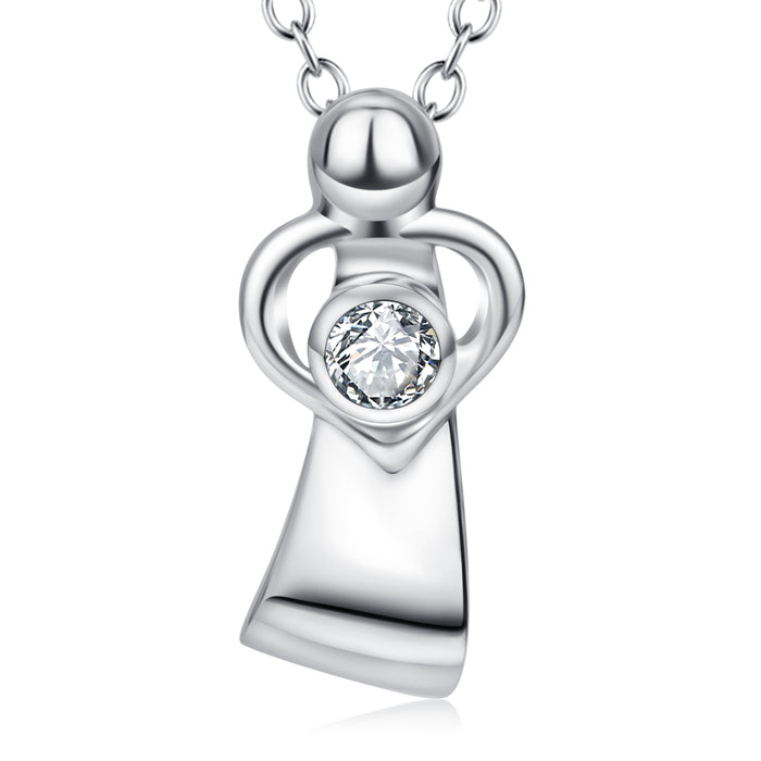 925 Sterling Silver Crystal Love Heart Handle Necklace
