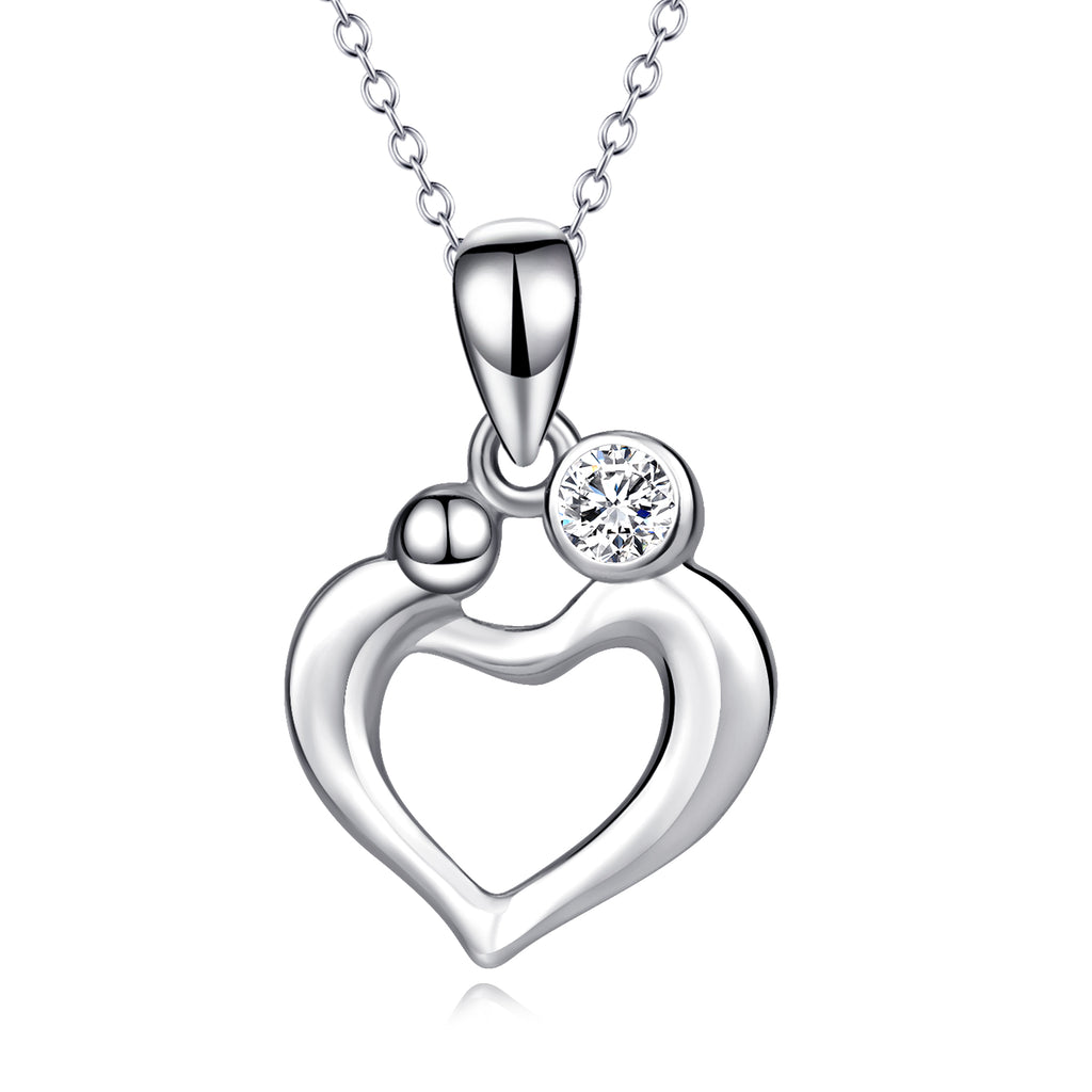 925 Sterling Silver Unique Love Heart Jewel Necklace