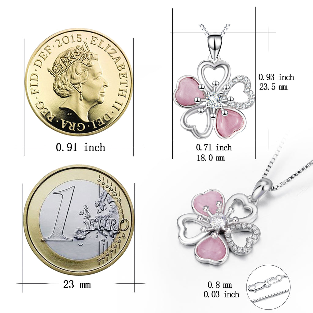925 Sterling Silver Flower Cubic Zirconia Pendant Necklace