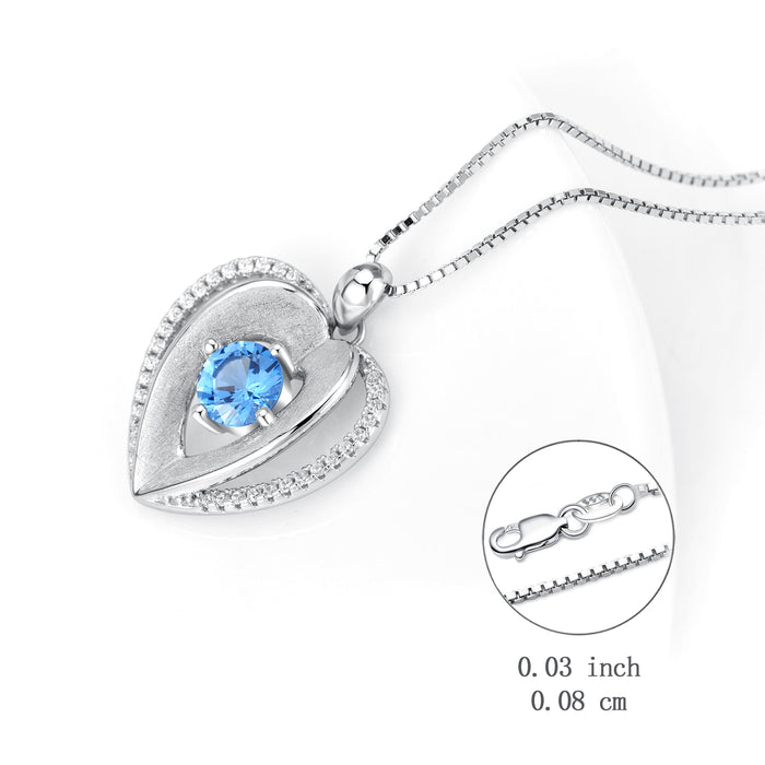 925 Sterling Silver Unique Double Love Heart Swarovski Crystal Necklace For Women Girlfriend
