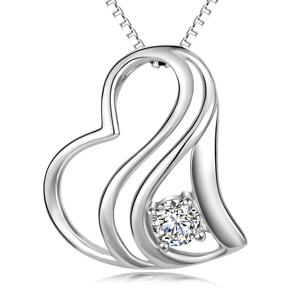 925 Sterling Silver Irregular Heart Crystal Lucky Pendant Necklace For Women Girlfriend