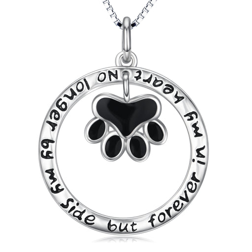 925 Sterling Silver Love You Forever Dog Paw Round Necklace