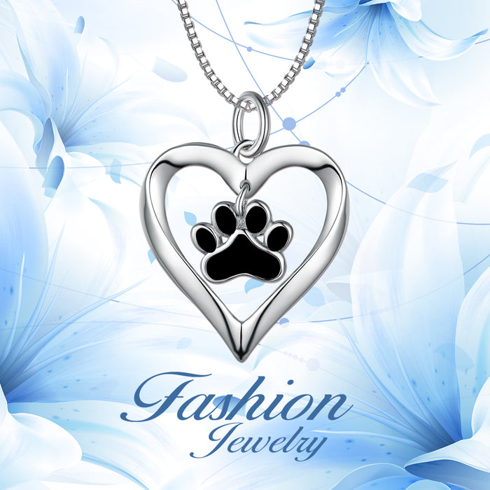 925 Sterling Silver Love Heart Adorable Paw Necklace