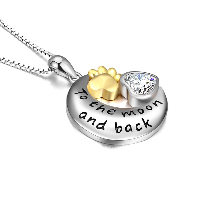 925 Sterling Silver Engraved Text Eternal Love Paw Love Heart Pendant Necklace