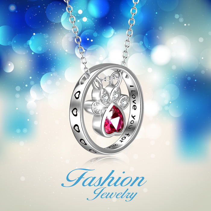 I Love You Forever-925 Sterling Silver Dog Paw Engraved Text Zircon Pendant Necklace